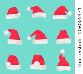 red santa claus hats isolated... | Shutterstock .eps vector #506005471