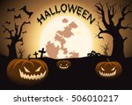 halloween night with full moon... | Shutterstock . vector #506010217