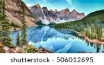 Moraine lake panorama in Banff National Park, Alberta, Canada