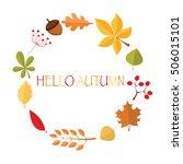 hello autumn wreath   Shutterstock .eps vector #506015101