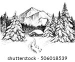 winter forest in mountains ... | Shutterstock .eps vector #506018539