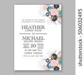 romantic pink peony bouquet... | Shutterstock .eps vector #506032495