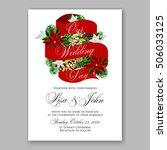 poinsettia wedding invitation... | Shutterstock .eps vector #506033125