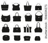 set of female bags on a white...