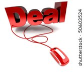 3D rendering of the word deal connected to a computer mouse - stock photo
