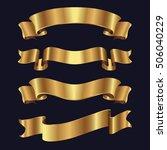 set of golden ribbons on black...   Shutterstock .eps vector #506040229