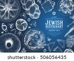 jewish cuisine top view frame.... | Shutterstock .eps vector #506056435