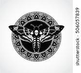 black white ornamental mandala... | Shutterstock .eps vector #506057839
