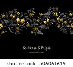 merry christmas gold pattern... | Shutterstock .eps vector #506061619