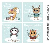 funny christmas personages.... | Shutterstock .eps vector #506072641