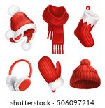 winter clothes. knitted hat ... | Shutterstock .eps vector #506097214