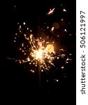 sparklers on a black background.... | Shutterstock . vector #506121997