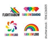 rainbow logo icon template set