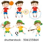 boys doing different kinds of... | Shutterstock .eps vector #506155864