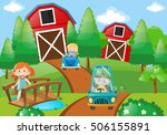 children driving cars in the... | Shutterstock .eps vector #506155891