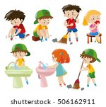 boys and girls doing different... | Shutterstock .eps vector #506162911