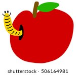 Cartoon Freehand   Apple With...