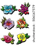 traditional tattoo flowers set... | Shutterstock .eps vector #506167579