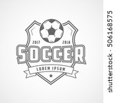 soccer emblem line icon on... | Shutterstock .eps vector #506168575