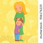beautiful mother and son... | Shutterstock .eps vector #506176225