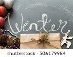 chalk inscription winter on... | Shutterstock . vector #506179984