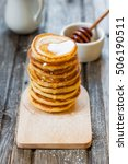 russian pancakes with honey on...   Shutterstock . vector #506190511