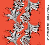 seamless pattern with stylized... | Shutterstock .eps vector #506199019
