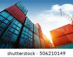 forklift truck lifting cargo... | Shutterstock . vector #506210149