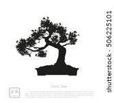 black silhouette of a bonsai on ...