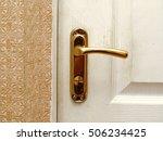 used door handle lock. gold      Shutterstock . vector #506234425