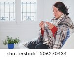 flu and fever  sick cold woman...   Shutterstock . vector #506270434