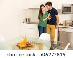 young couple on the kitchen... | Shutterstock . vector #506272819