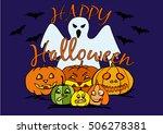 halloween pumpkin with a ghost... | Shutterstock .eps vector #506278381