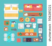 furniture top view set for... | Shutterstock .eps vector #506285221