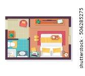 bedroom and bathroom floor plan ... | Shutterstock .eps vector #506285275