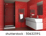 Modern Bathroom With Red Mosaic ...