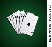 poker flush cards leaves hand | Shutterstock .eps vector #506331634