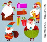 funny santa clauses and gifts.... | Shutterstock .eps vector #506334025