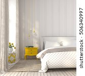3d illustration. modern bedroom ... | Shutterstock . vector #506340997
