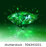 beautiful green gem emerald on... | Shutterstock .eps vector #506341021