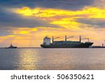 Cargo Container Ship At Sunset