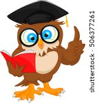 Stock vector owl wearing graduation cap and reading book 506377261