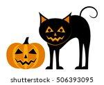 vector halloween pumpkin and... | Shutterstock .eps vector #506393095