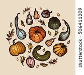 vector autumn pumpkin harvest | Shutterstock .eps vector #506411209