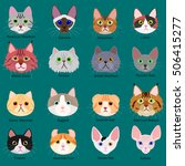 cats face set with breeds name | Shutterstock .eps vector #506415277