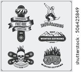 set of snowboarding extreme... | Shutterstock .eps vector #506425849