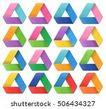 triangle 3d design set colorful | Shutterstock . vector #506434327
