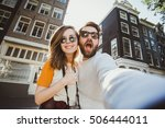 happy young couple in love... | Shutterstock . vector #506444011