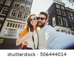 happy young couple in love... | Shutterstock . vector #506444014