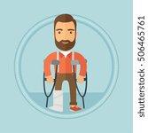 an injured caucasian hipster... | Shutterstock .eps vector #506465761